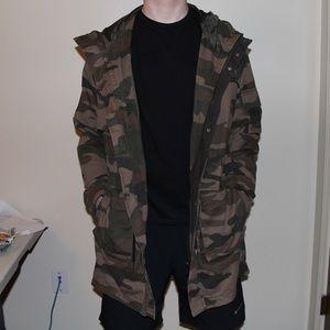 long, camo jacket